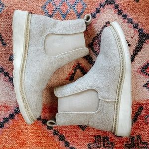 Tan Wool Chelsea Booties